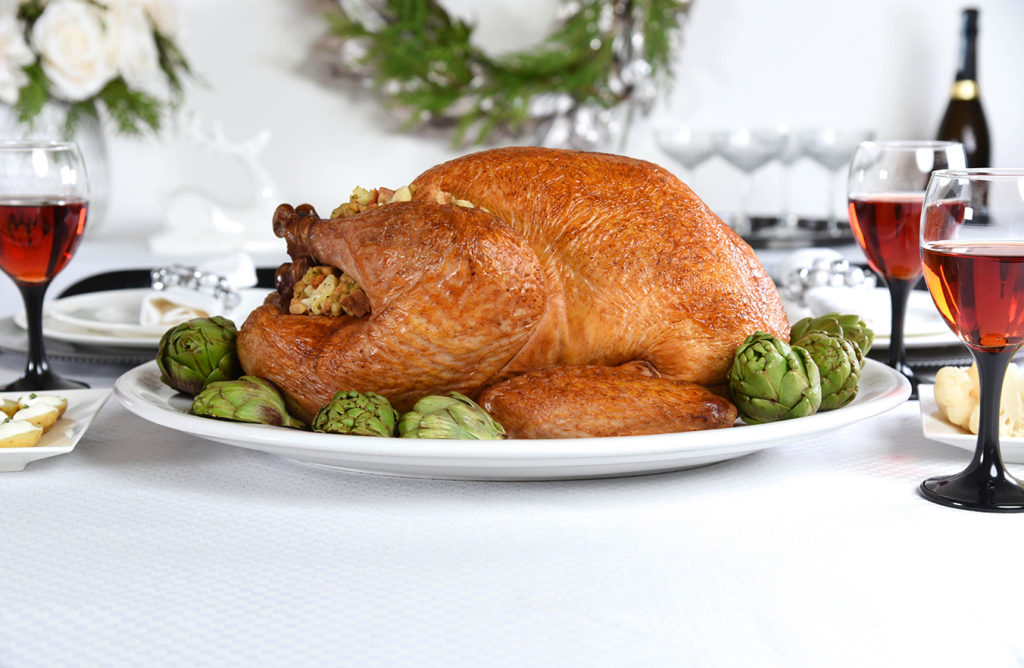roast turkey with artichoke and asiago dressing