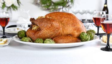 roast turkey with artichoke and asiago dressing