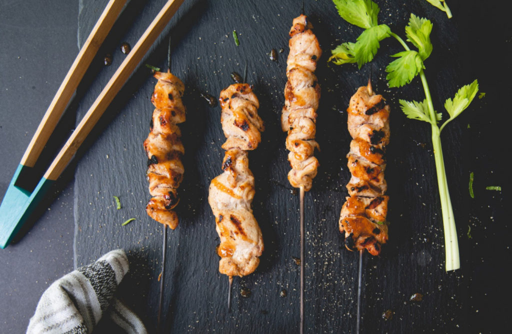 BBQ buffalo turkey skewers